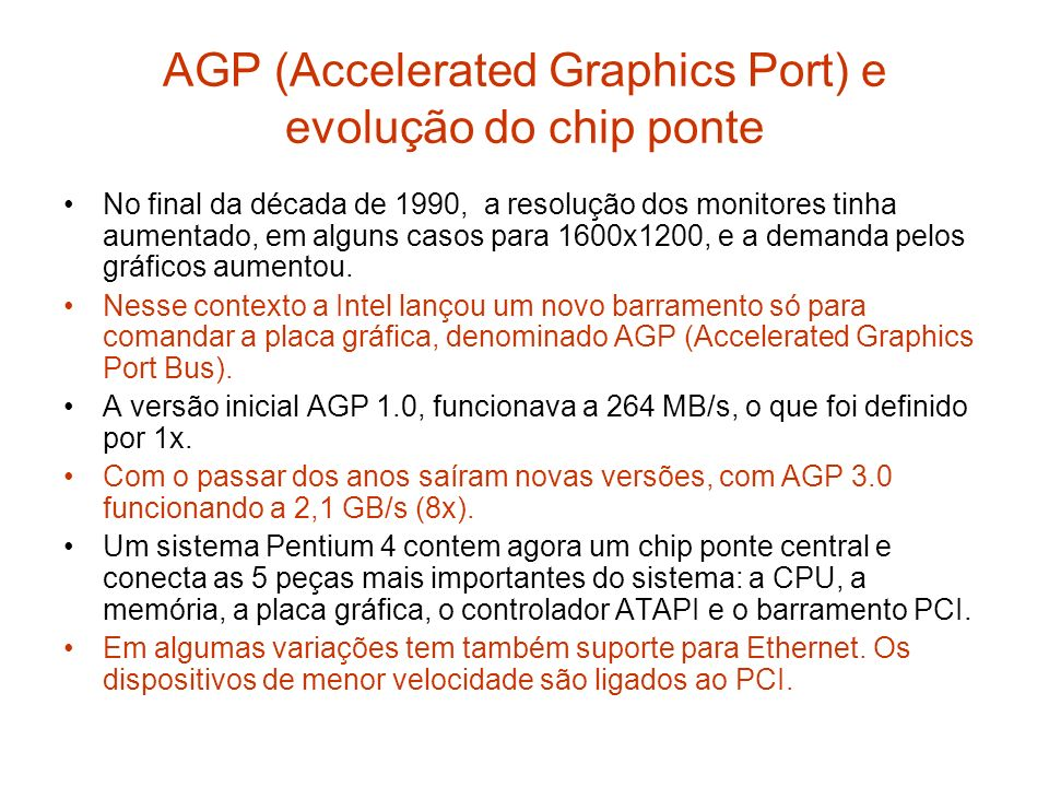 AGP (Accelerated Graphics Port) e evolução do chip ponte