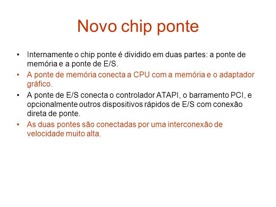 Novo chip ponte Internamente o chip ponte é dividido em duas partes: a ponte de memória e a ponte de E/S.