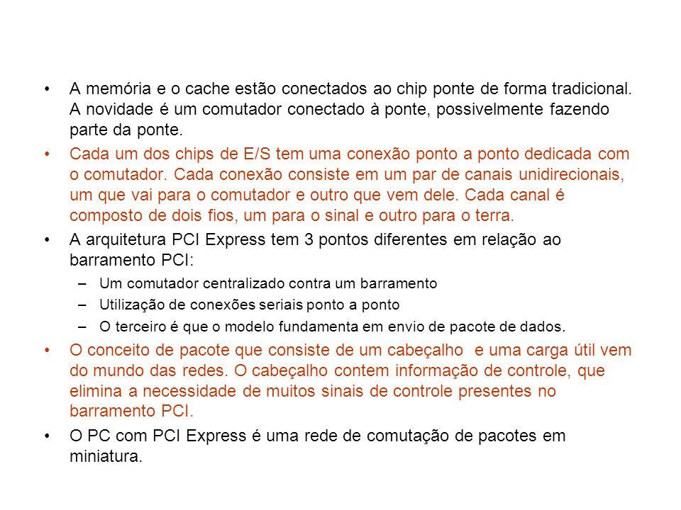O PC com PCI Express é uma rede de comutação de pacotes em miniatura.