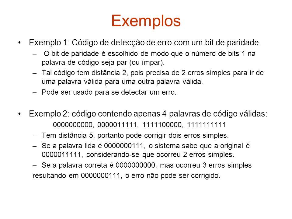 Exemplos Exemplo 1: Código de detecção de erro com um bit de paridade.