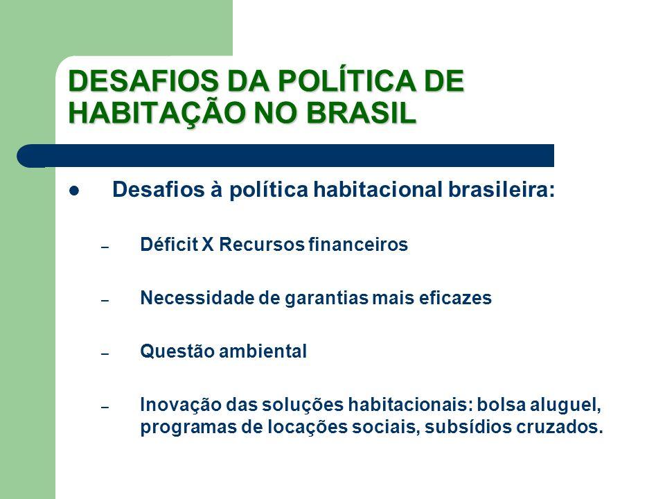 DESAFIOS DA POLÍTICA DE HABITAÇÃO NO BRASIL