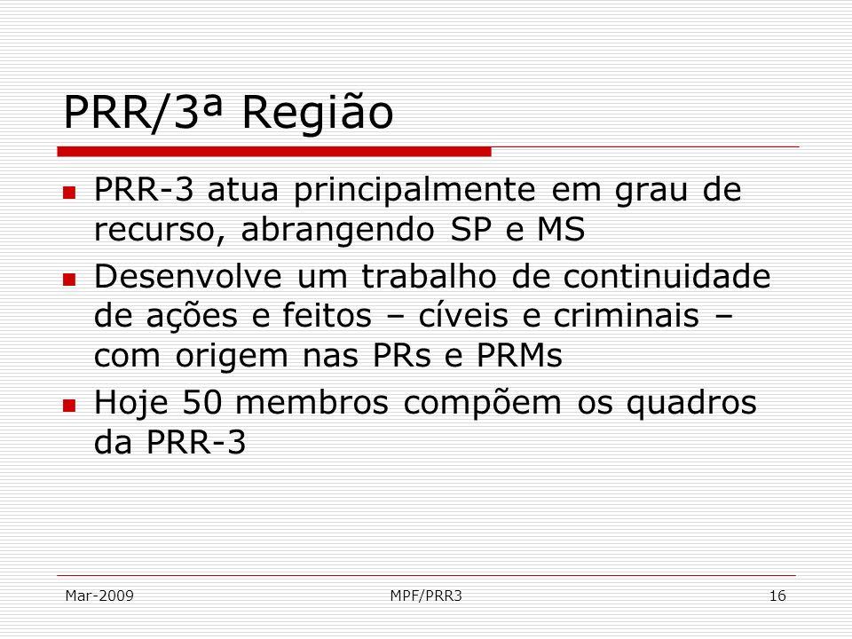 PRR/3ª Região PRR-3 atua principalmente em grau de recurso, abrangendo SP e MS.