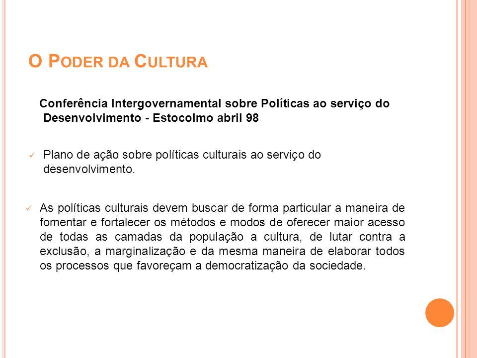 O Poder da Cultura Conferência Intergovernamental sobre Políticas ao serviço do Desenvolvimento - Estocolmo abril 98.
