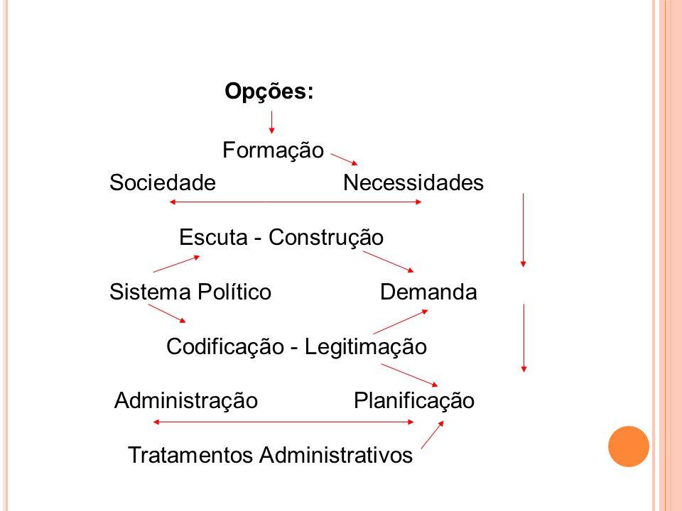 Opções: Formação. Sociedade Necessidades. Escuta - Construção. Sistema Político Demanda.