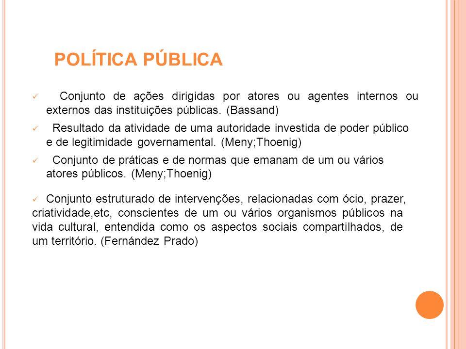 POLÍTICA PÚBLICA Conjunto de ações dirigidas por atores ou agentes internos ou externos das instituições públicas. (Bassand)