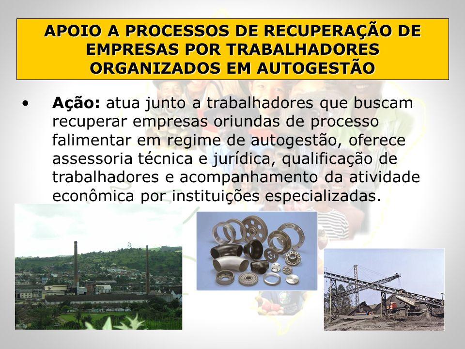 APOIO A PROCESSOS DE RECUPERAÇÃO DE EMPRESAS POR TRABALHADORES ORGANIZADOS EM AUTOGESTÃO