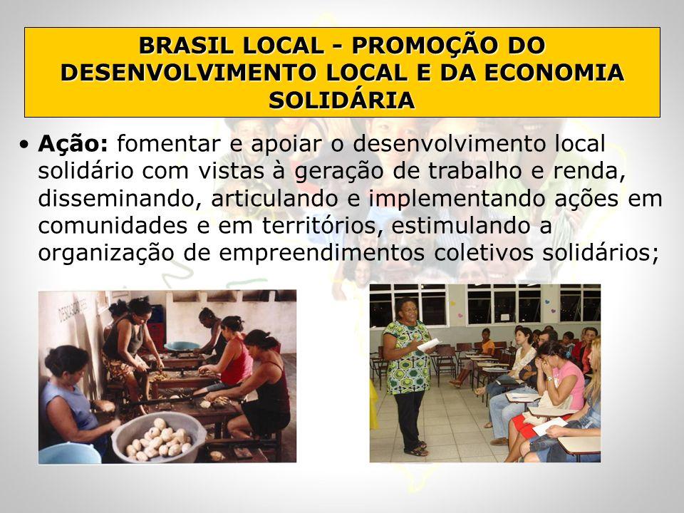 BRASIL LOCAL - PROMOÇÃO DO DESENVOLVIMENTO LOCAL E DA ECONOMIA SOLIDÁRIA