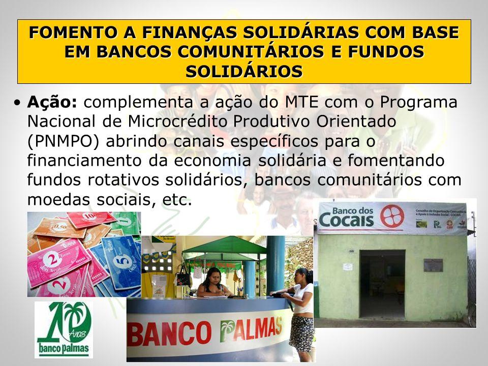 FOMENTO A FINANÇAS SOLIDÁRIAS COM BASE EM BANCOS COMUNITÁRIOS E FUNDOS SOLIDÁRIOS