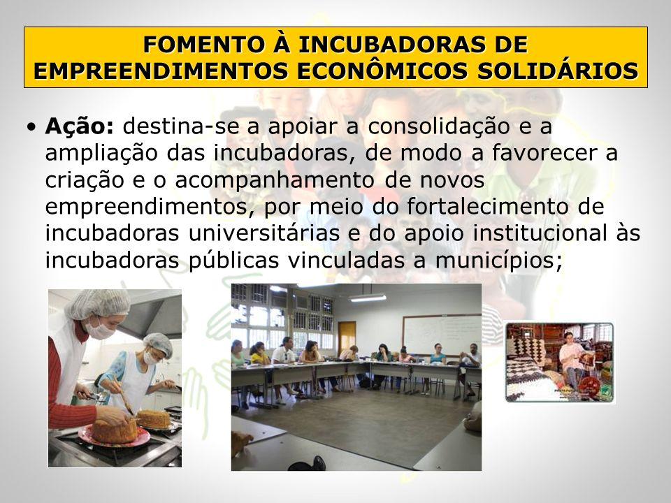 FOMENTO À INCUBADORAS DE EMPREENDIMENTOS ECONÔMICOS SOLIDÁRIOS