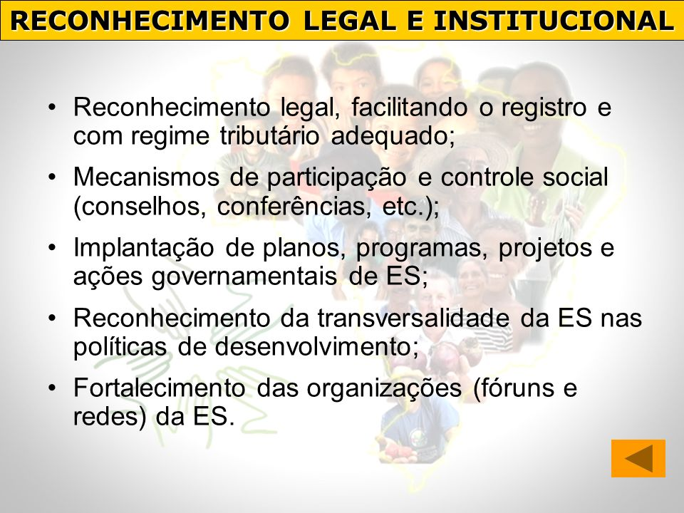 RECONHECIMENTO LEGAL E INSTITUCIONAL