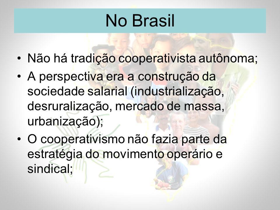 No Brasil Não há tradição cooperativista autônoma;