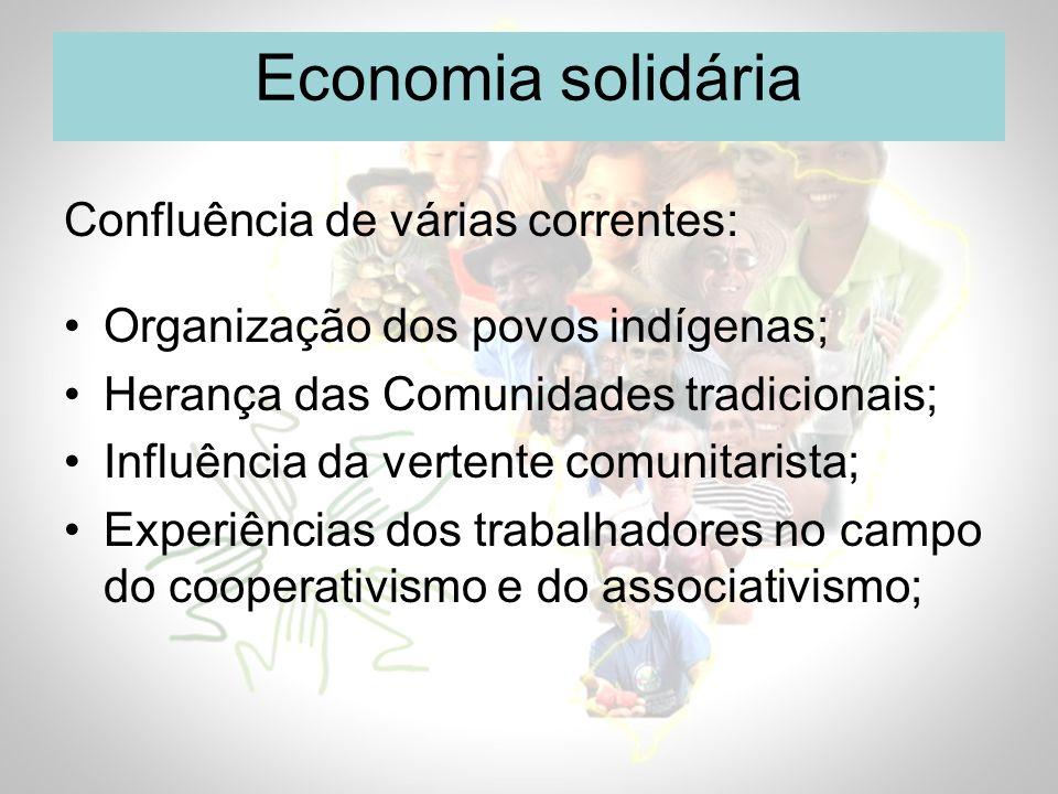 Economia solidária Confluência de várias correntes: