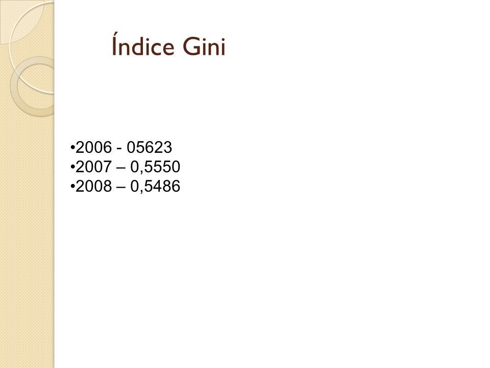 Índice Gini 2006 - 05623 2007 – 0,5550 2008 – 0,5486