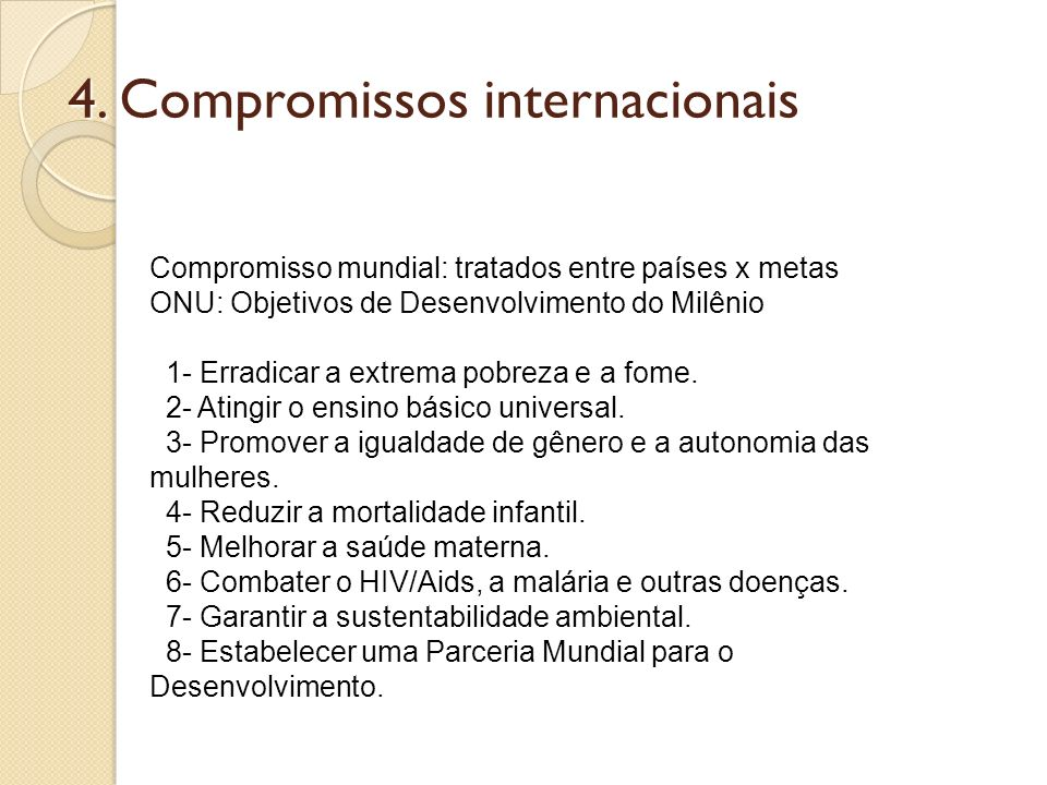 4. Compromissos internacionais