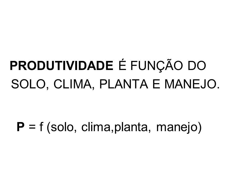 PRODUTIVIDADE É FUNÇÃO DO SOLO, CLIMA, PLANTA E MANEJO.