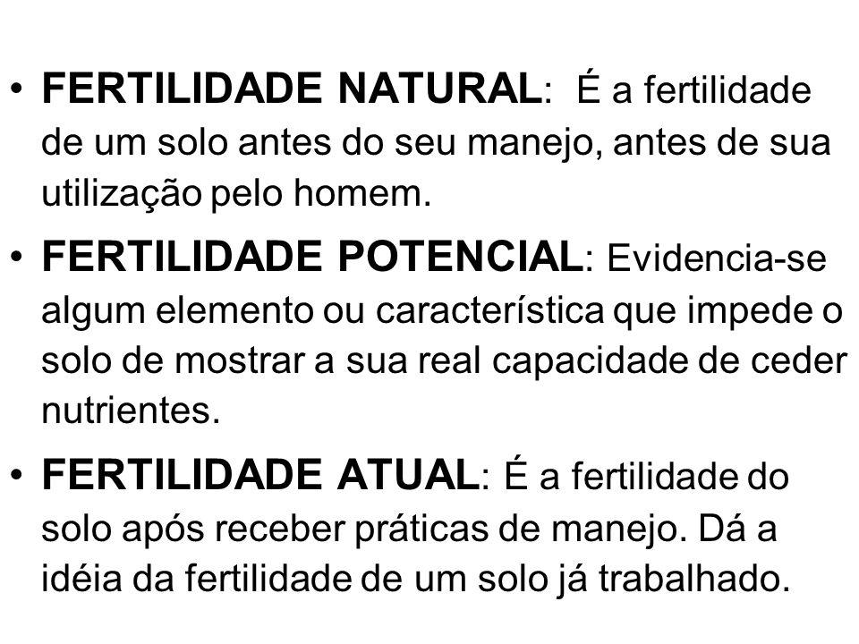 FERTILIDADE NATURAL: É a fertilidade de um solo antes do seu manejo, antes de sua utilização pelo homem.