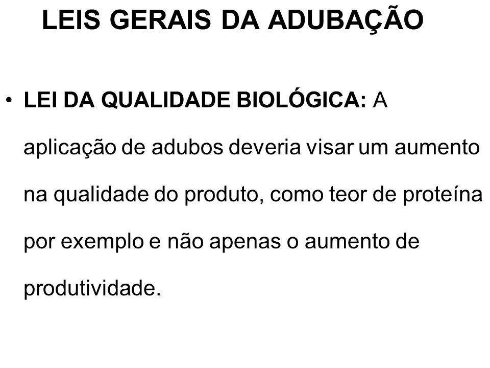 LEIS GERAIS DA ADUBAÇÃO