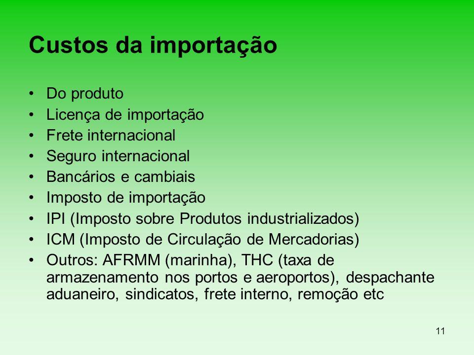 Custos da importação Do produto Licença de importação