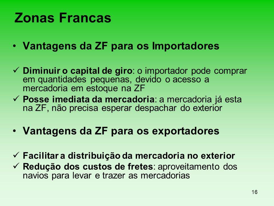 Zonas Francas Vantagens da ZF para os Importadores