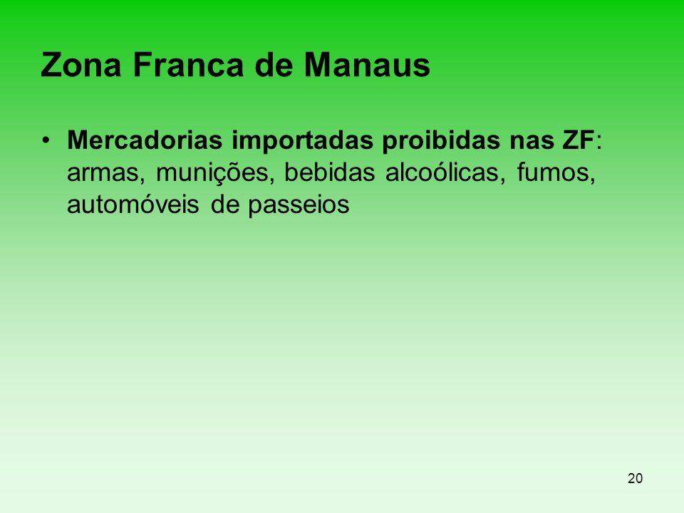 Zona Franca de Manaus Mercadorias importadas proibidas nas ZF: armas, munições, bebidas alcoólicas, fumos, automóveis de passeios.
