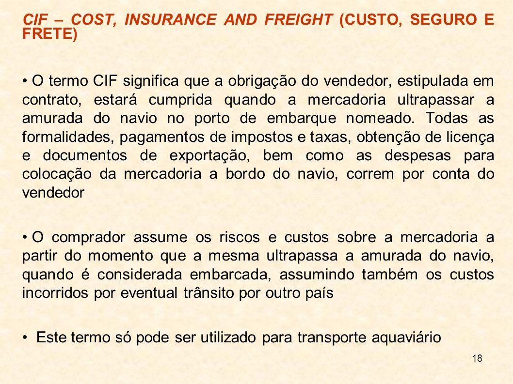 CIF – COST, INSURANCE AND FREIGHT (CUSTO, SEGURO E FRETE)