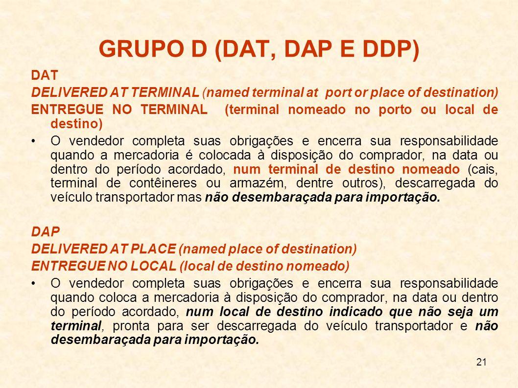 GRUPO D (DAT, DAP E DDP) DAT