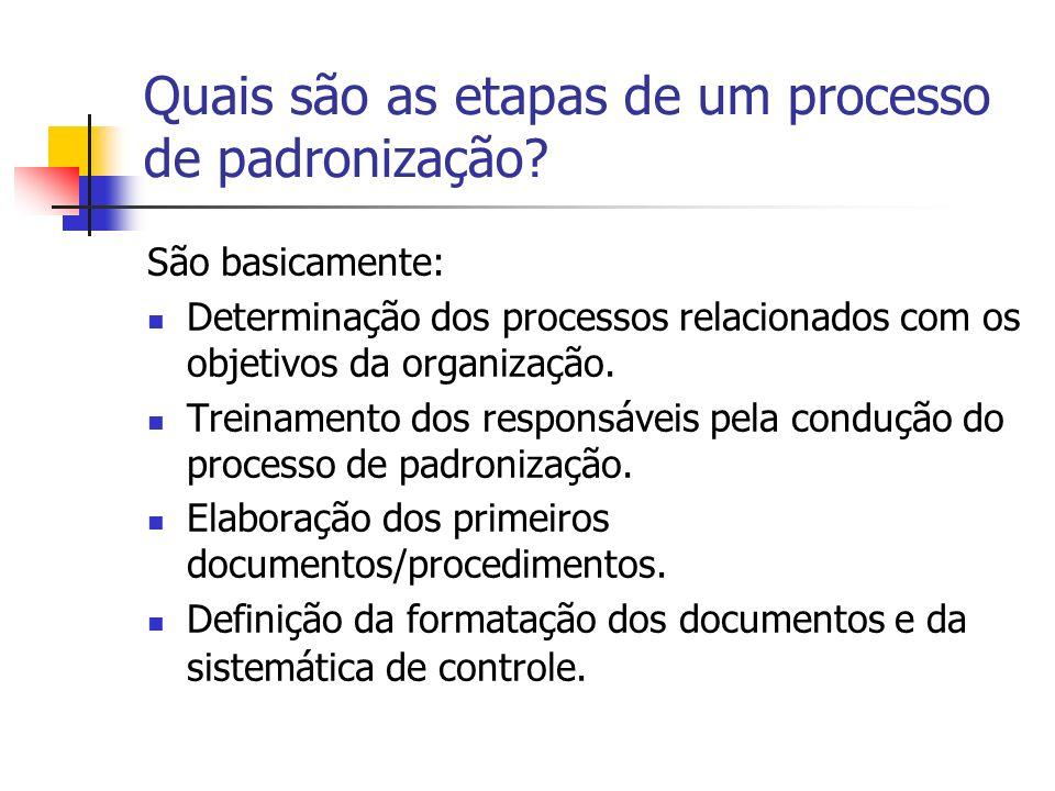 Quais são as etapas de um processo de padronização