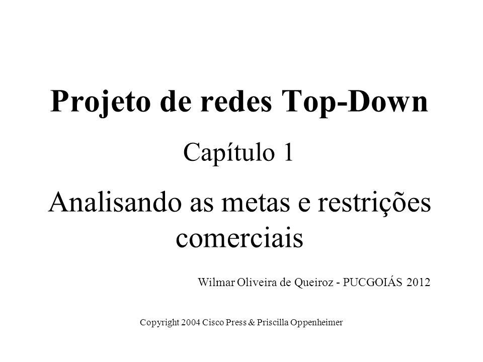 Projeto de redes Top-Down Capítulo 1 Analisando as metas e restrições comerciais