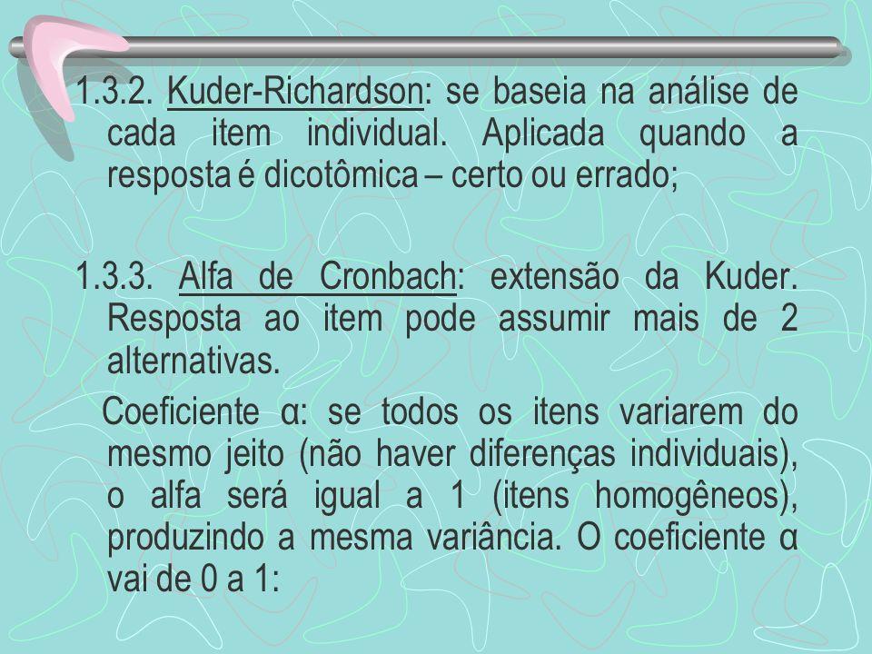 1.3.2. Kuder-Richardson: se baseia na análise de cada item individual. Aplicada quando a resposta é dicotômica – certo ou errado;