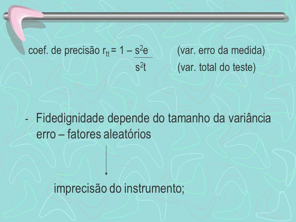 coef. de precisão rtt = 1 – s2e (var. erro da medida)