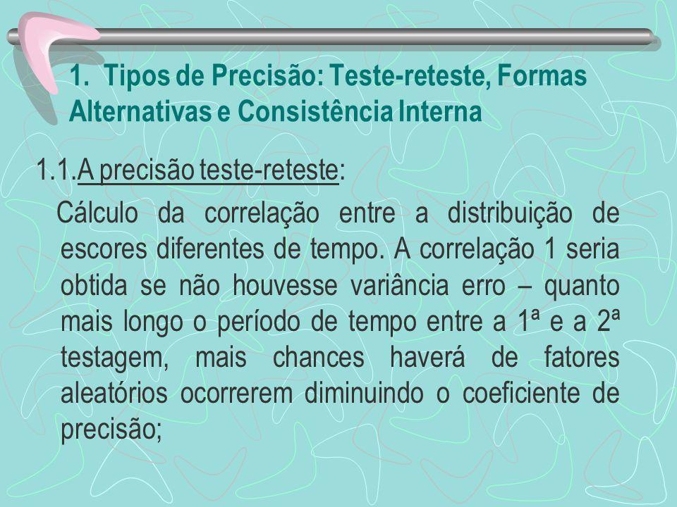 1. Tipos de Precisão: Teste-reteste, Formas Alternativas e Consistência Interna