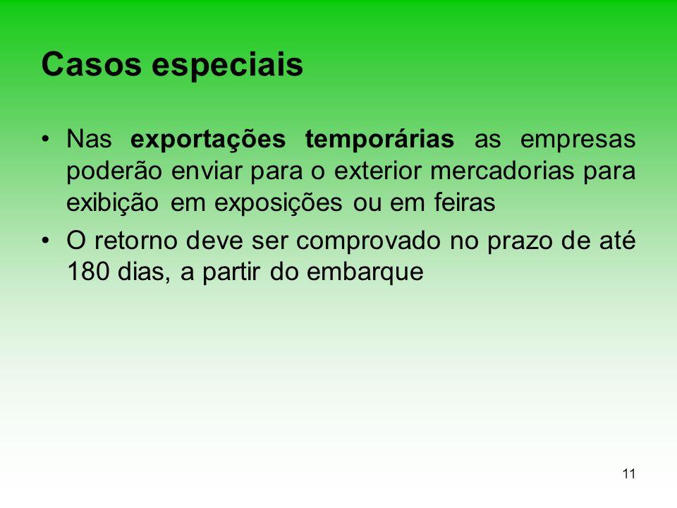 Casos especiais Nas exportações temporárias as empresas poderão enviar para o exterior mercadorias para exibição em exposições ou em feiras.