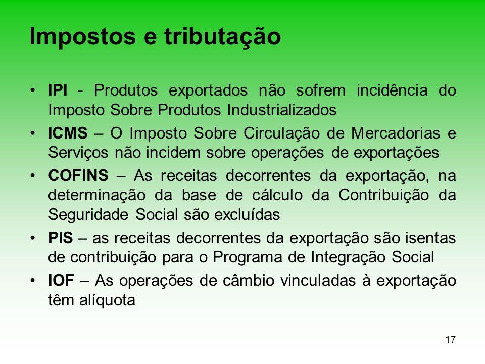 Impostos e tributação IPI - Produtos exportados não sofrem incidência do Imposto Sobre Produtos Industrializados.