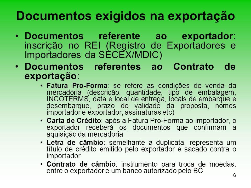 Documentos exigidos na exportação