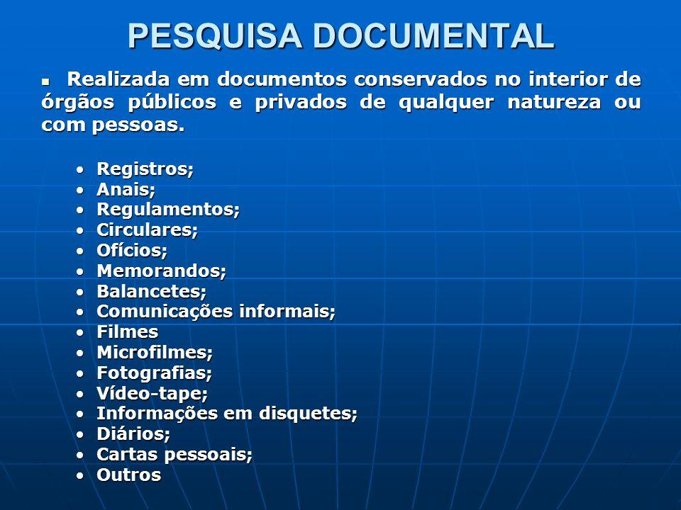 PESQUISA DOCUMENTAL Realizada em documentos conservados no interior de órgãos públicos e privados de qualquer natureza ou com pessoas.