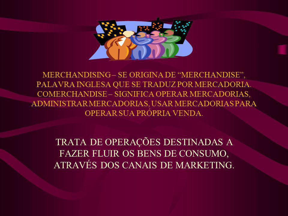 MERCHANDISING – SE ORIGINA DE MERCHANDISE , PALAVRA INGLESA QUE SE TRADUZ POR MERCADORIA. COMERCHANDISE – SIGNIFICA OPERAR MERCADORIAS, ADMINISTRAR MERCADORIAS, USAR MERCADORIAS PARA OPERAR SUA PRÓPRIA VENDA.