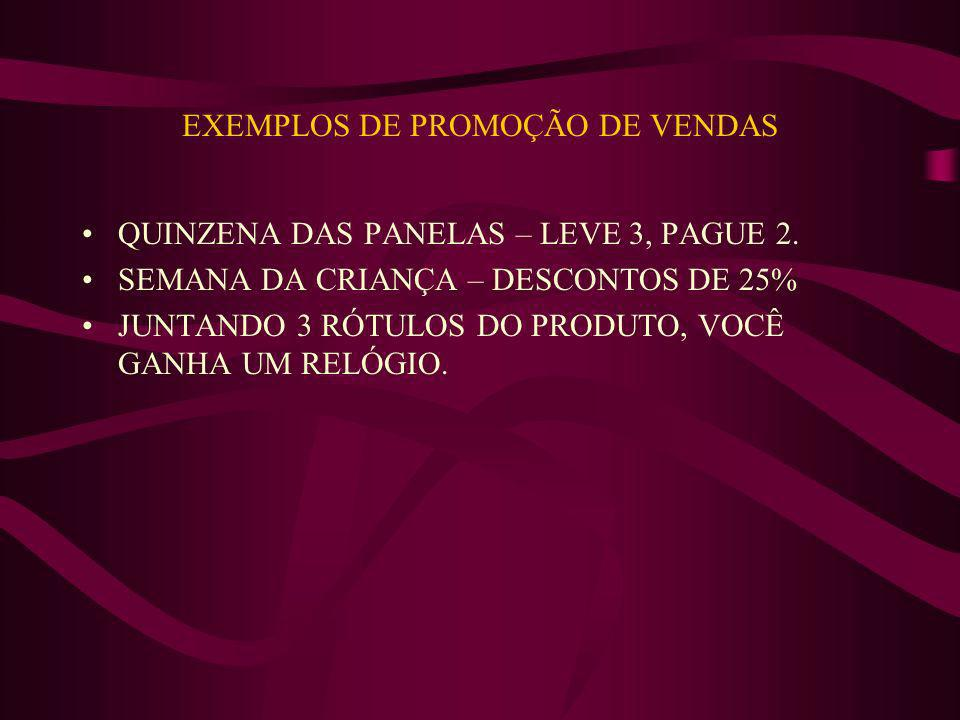 EXEMPLOS DE PROMOÇÃO DE VENDAS