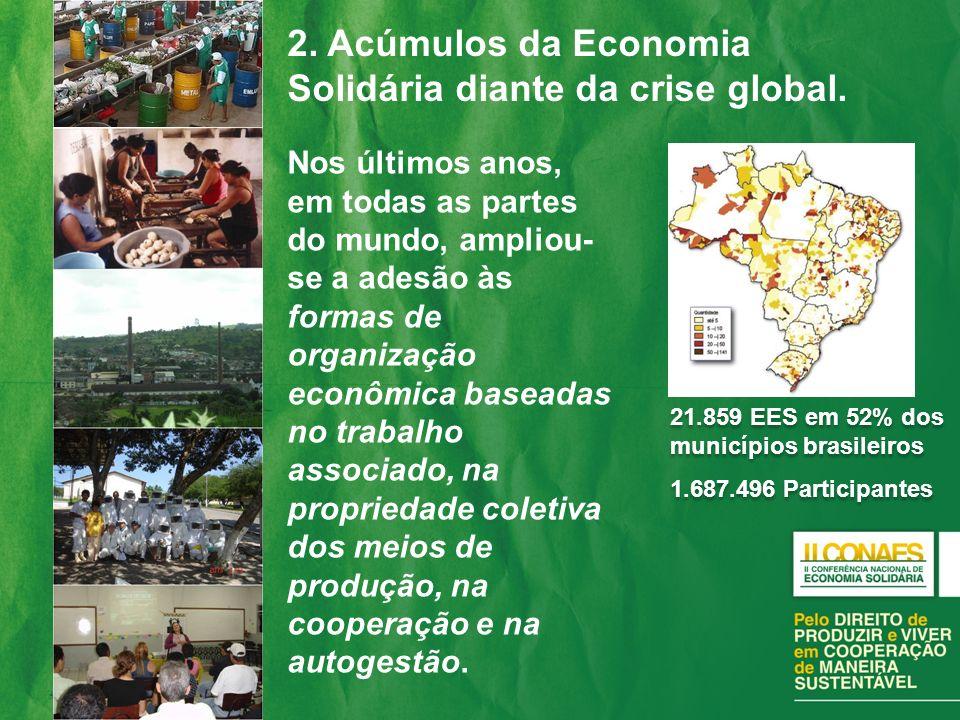 2. Acúmulos da Economia Solidária diante da crise global.