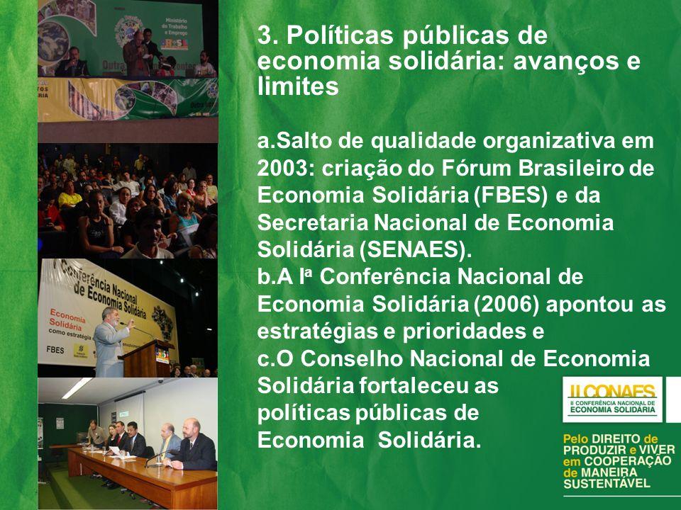 3. Políticas públicas de economia solidária: avanços e limites