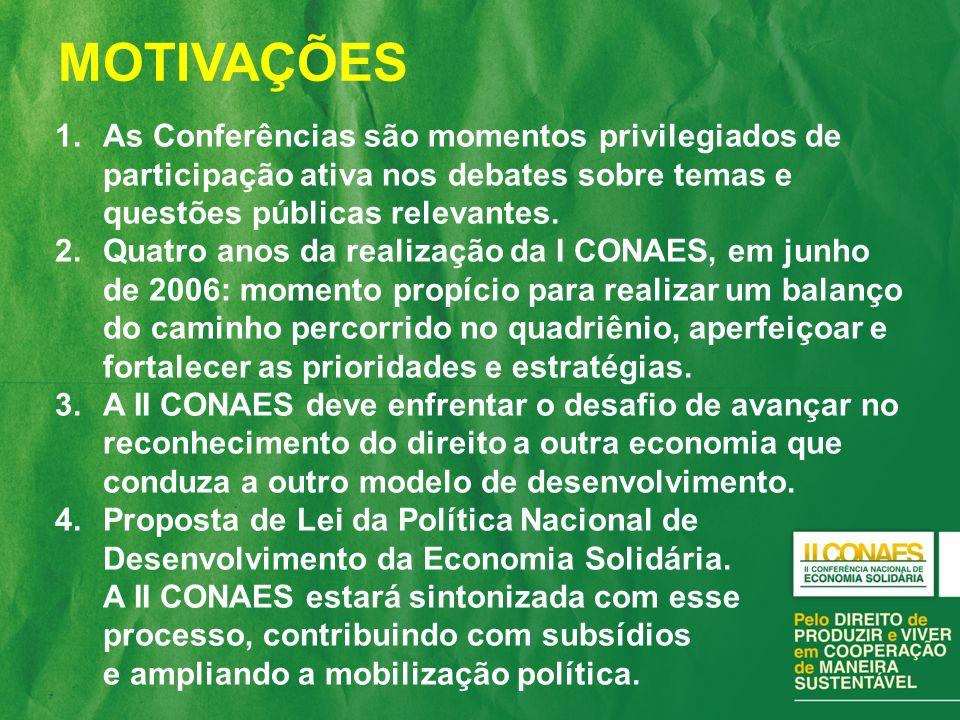 MOTIVAÇÕES As Conferências são momentos privilegiados de participação ativa nos debates sobre temas e questões públicas relevantes.