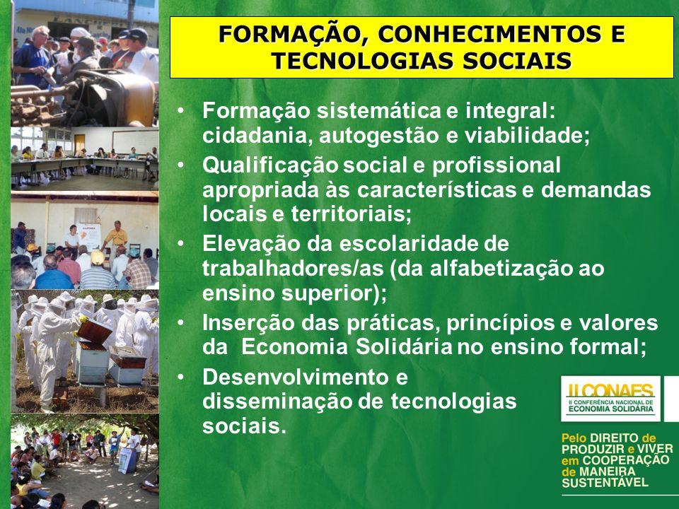 FORMAÇÃO, CONHECIMENTOS E TECNOLOGIAS SOCIAIS