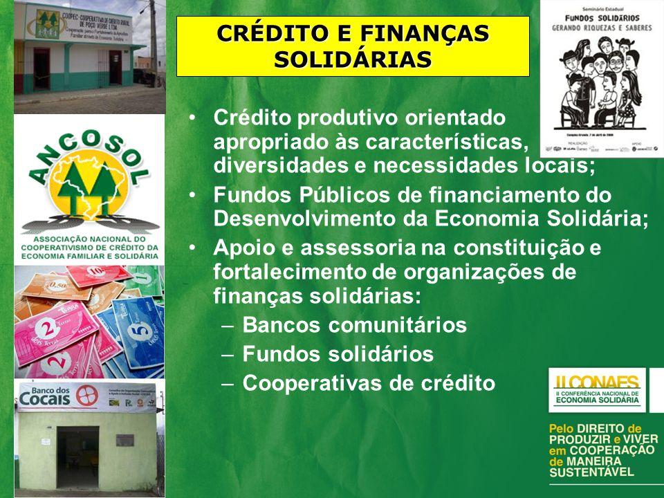 CRÉDITO E FINANÇAS SOLIDÁRIAS