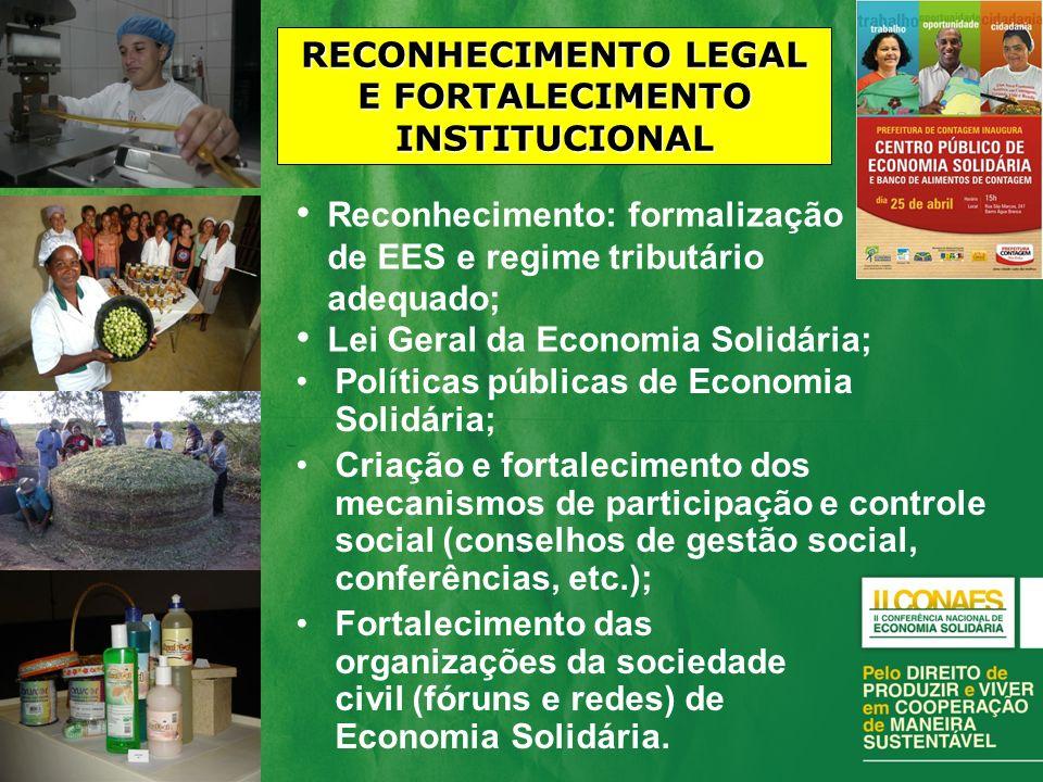 RECONHECIMENTO LEGAL E FORTALECIMENTO INSTITUCIONAL
