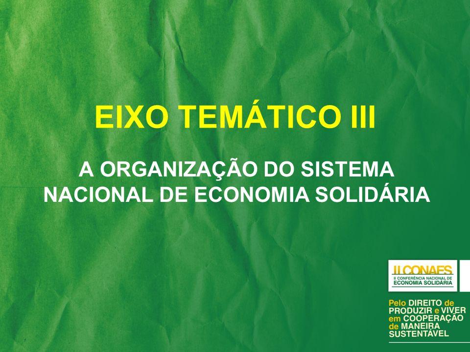 A ORGANIZAÇÃO DO SISTEMA NACIONAL DE ECONOMIA SOLIDÁRIA