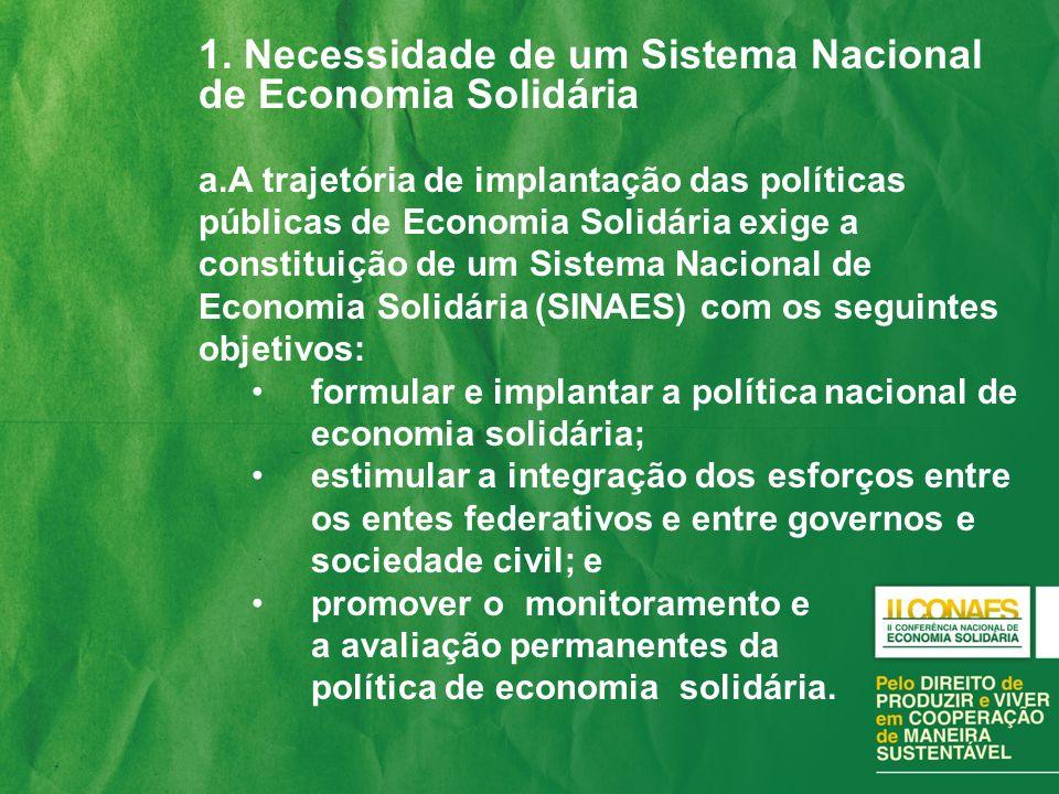 1. Necessidade de um Sistema Nacional de Economia Solidária