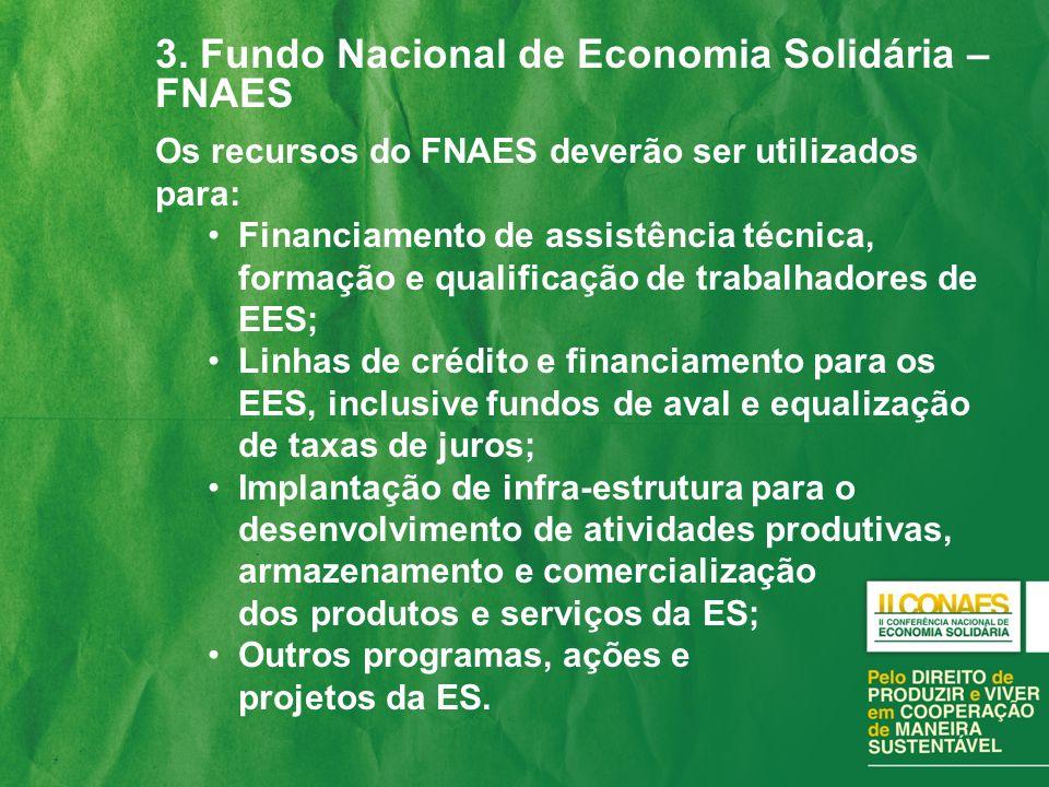 3. Fundo Nacional de Economia Solidária – FNAES
