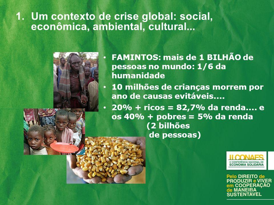 Um contexto de crise global: social, econômica, ambiental, cultural...
