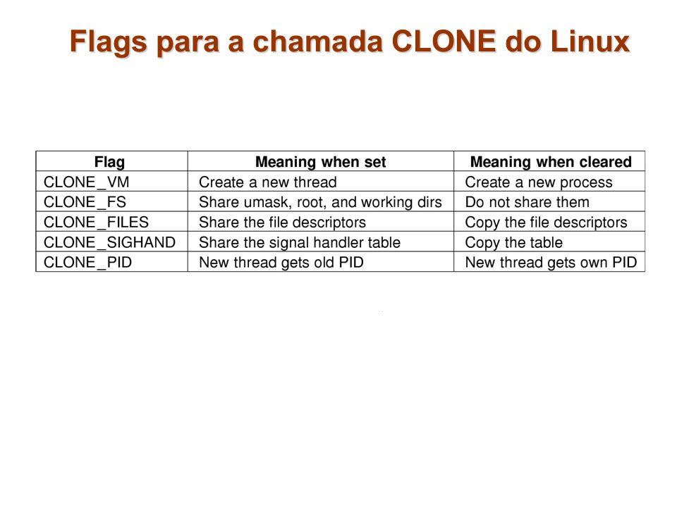Flags para a chamada CLONE do Linux