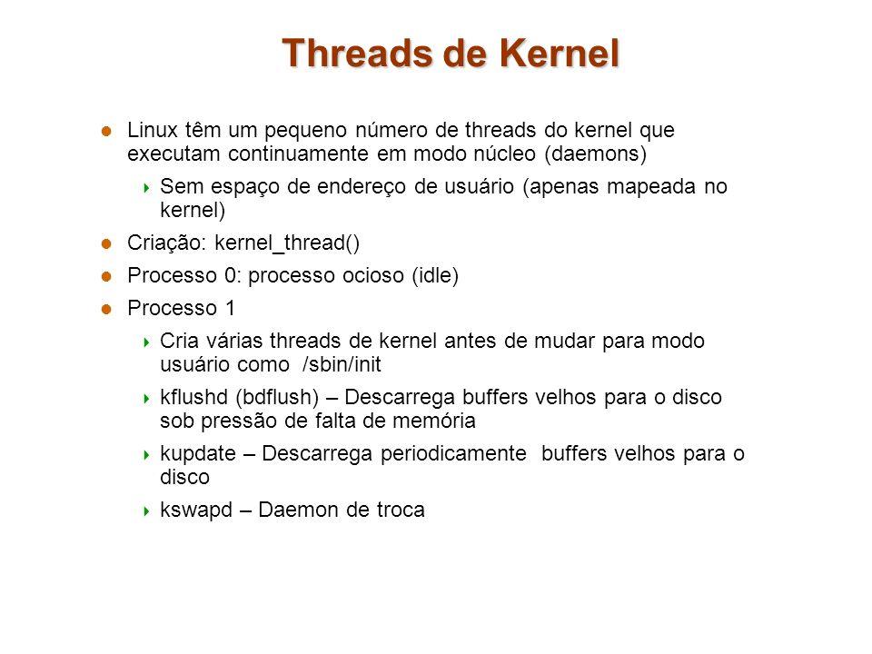 Threads de Kernel Linux têm um pequeno número de threads do kernel que executam continuamente em modo núcleo (daemons)