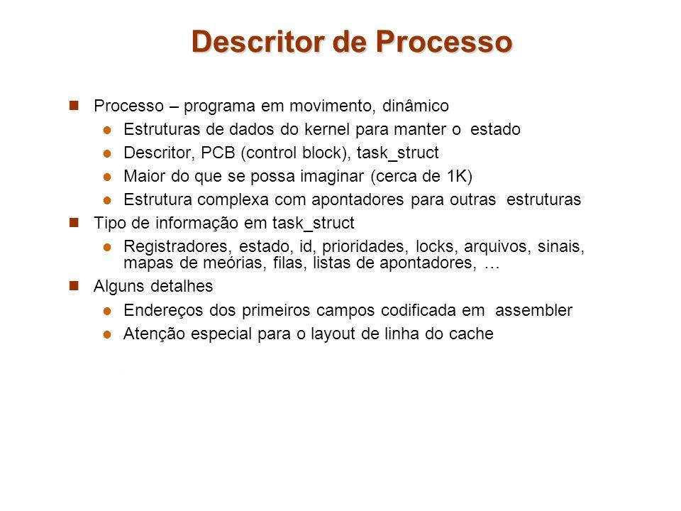 Descritor de Processo Processo – programa em movimento, dinâmico